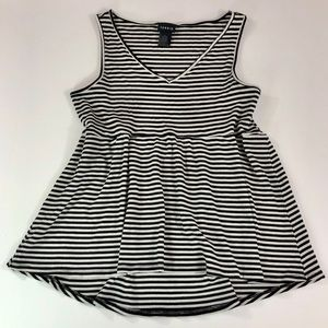Torrid • Black & White Striped Peplum Ribbed Tank